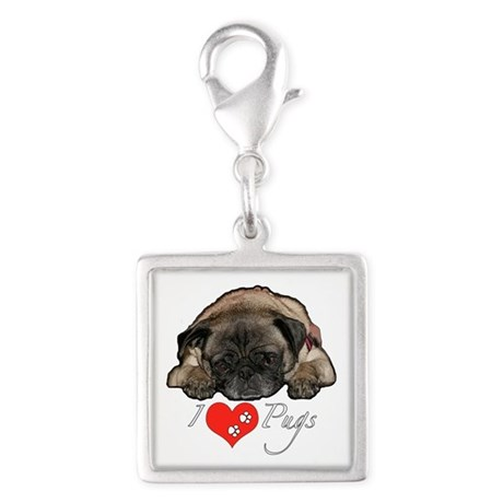 I love pugs Silver Square Charm