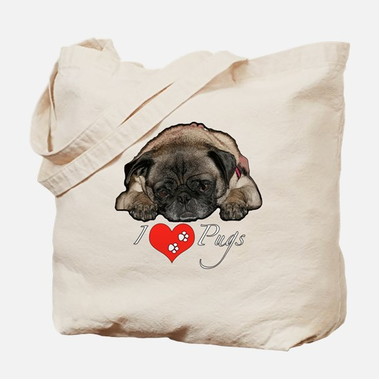 I love pugs Tote Bag