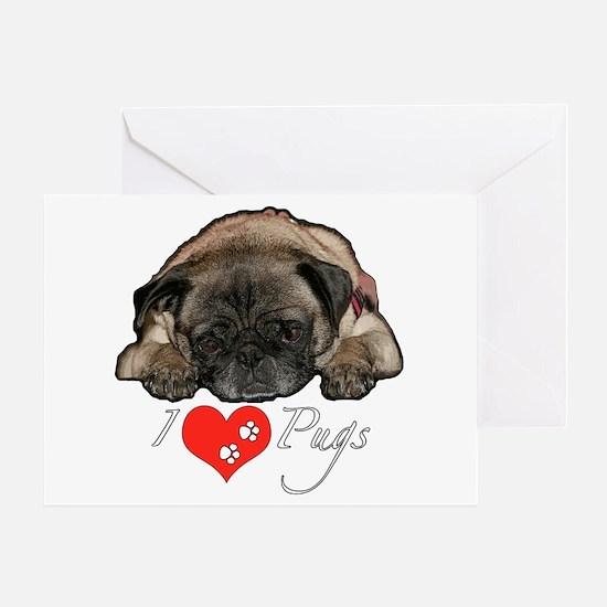I love pugs Greeting Card