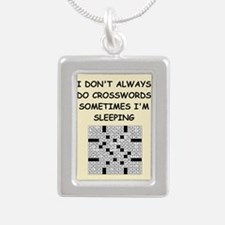 crosswords Silver Portrait Necklace