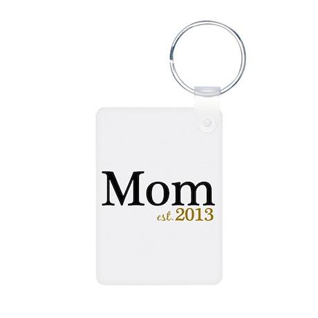 New Mom Est 2013 Aluminum Photo Keychain