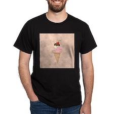 Ice Cream Cone on Pastel Pink T-Shirt