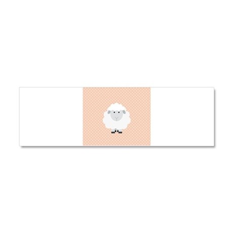 Sweet Baby Lamb on Pastel Pink and Cream Car Magne