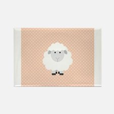 Sweet Baby Lamb on Pastel Pink and Cream Rectangle