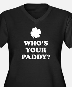 Who's Your Paddy? Women's Plus Size V-Neck Dark T-