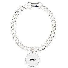 Hipster Moustache Charm Bracelet, One Charm