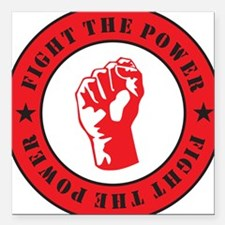 "Fight The Power Square Car Magnet 3"" x 3"""