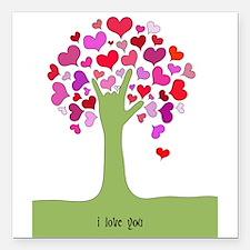 "I Love You Tree Square Car Magnet 3"" x 3"""