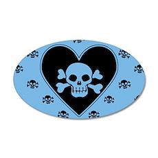 Blue Skull Crossbones Heart Wall Decal