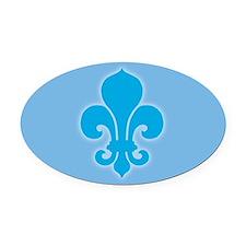 Blue Fleur De Lis Oval Car Magnet