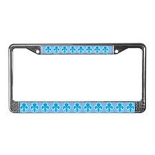 Blue Fleur De Lis License Plate Frame