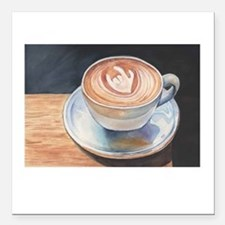 """I Love You Coffee #2 Square Car Magnet 3"""" x 3"""""""