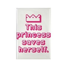 This Princess Saves Herself Rectangle Magnet