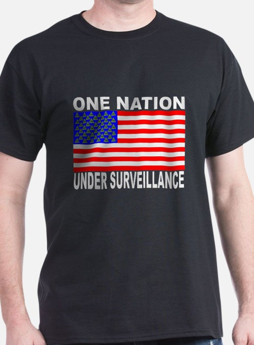 One Nation Under Surveillance Black Tshirt