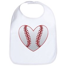 cute Baseball Heart Bib