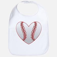cute Baseball Heart Bib