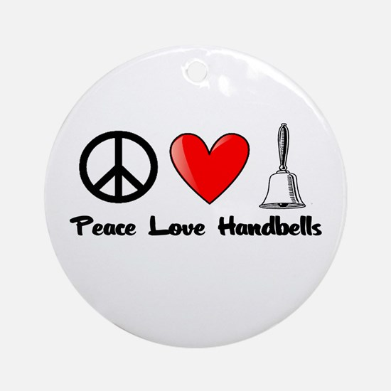 Peace, Love, Handbells Ornament (Round)