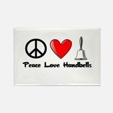 Peace, Love, Handbells Rectangle Magnet (10 pack)