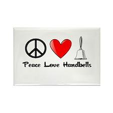 Peace, Love, Handbells Rectangle Magnet