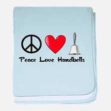 Peace, Love, Handbells baby blanket