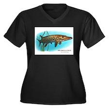 Muskellunge Women's Plus Size V-Neck Dark T-Shirt