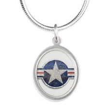 USAF US Air Force Roundel Silver Oval Necklace