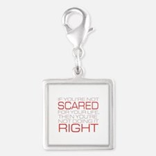 'Scared For Your Life' Silver Square Charm