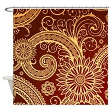 Red and Gold Floral Swirls Shower Curtain