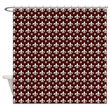 Deep red fleur de lis shower curtain by cheriverymery - Fleur de lis shower curtain hooks ...
