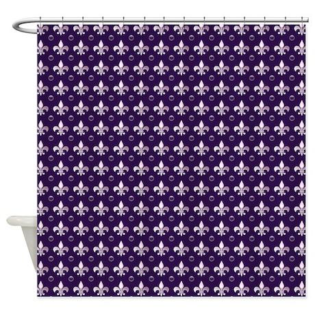 Deep purple fleur de lis shower curtain by cheriverymery - Fleur de lis shower curtain ...
