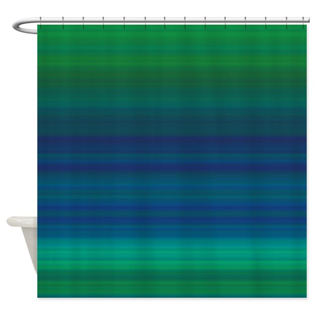 Shades of Green and Blue Shower Curtain by cheriverymery