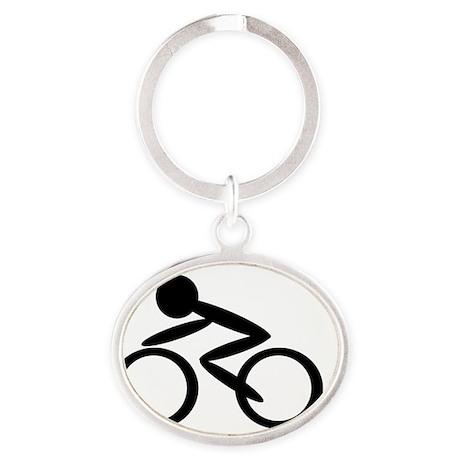 Cycling Oval Keychain