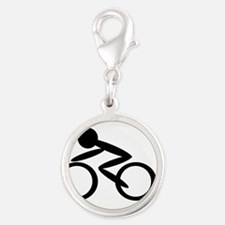 Cycling Silver Round Charm