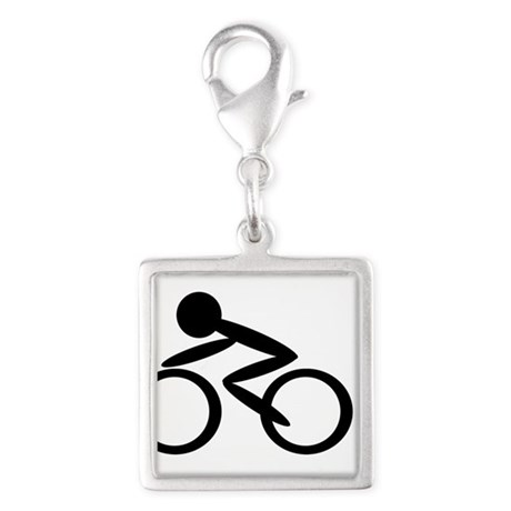 Cycling Silver Square Charm