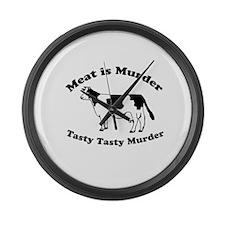 Meat is Murder Tasty Tasty Murder Large Wall Clock