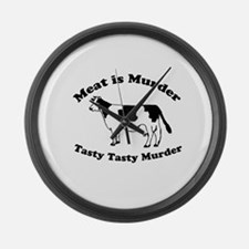 Meat is Murder Tasty Tasty Murder Large Wall Clock