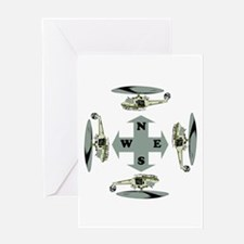 Helicopter Compass Greeting Card