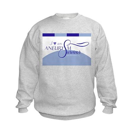 I <3 An Aneurysm Survivor (Blue) Kids Sweatshirt