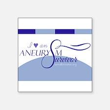 """I <3 An Aneurysm Survivor (Blue) Square Sticker 3"""""""