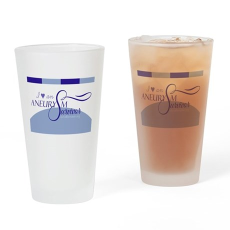 I <3 An Aneurysm Survivor (Blue) Drinking Glass