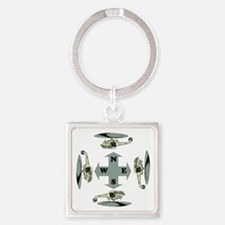 Helicopter Compass Square Keychain