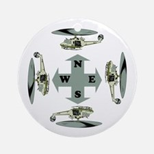 Helicopter Compass Ornament (Round)