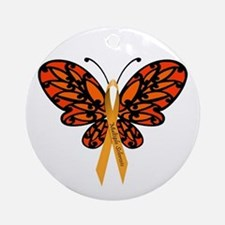 MS Awareness Butterfly Ribbon Ornament (Round)