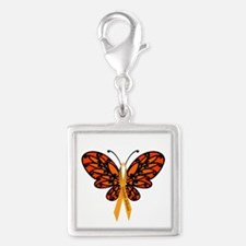 MS Awareness Butterfly Ribbon Silver Square Charm