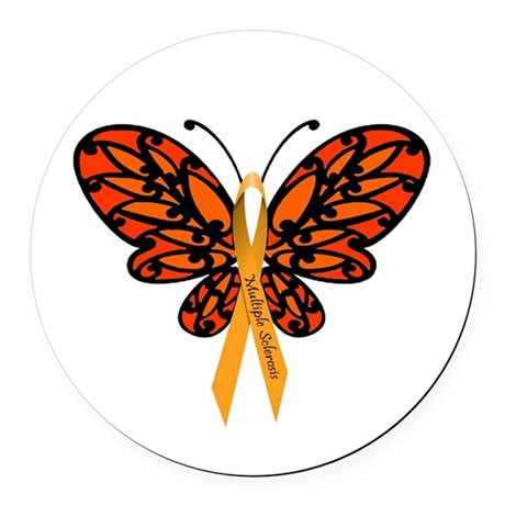 MS Awareness Butterfly Ribbon Round Car Magnet