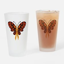 MS Awareness Butterfly Ribbon Drinking Glass