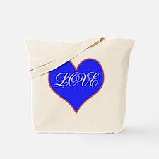 Blue Love Heart Tote Bag