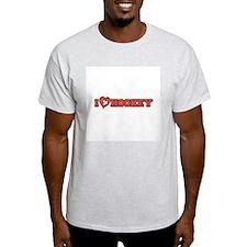 I Heart (Love) Hockey Ash Grey T-Shirt