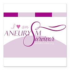 I <3 An Aneurysm Survivor (Purple) Square Car Magn