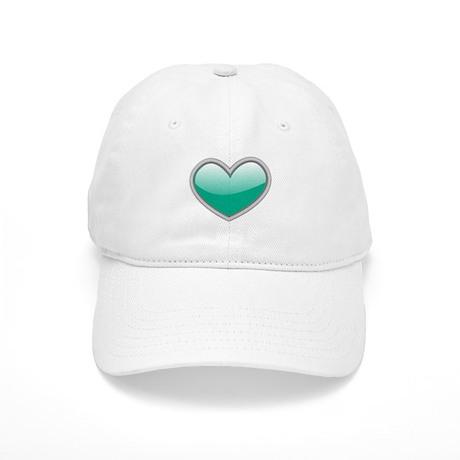 Teal Blue Heart Baseball Cap